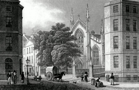 ANTIQUE PRINT: CATHOLIC CHAPEL, FROM PICARDY PLACE. EDINBURGH.