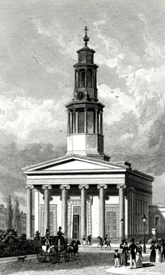 ANTIQUE PRINT: ST. PANCRASS [sic] CHURCH, WEST FRONT.