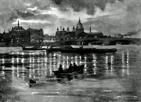 ANTIQUE PRINT: BLACKFRIARS – NIGHTFALL.