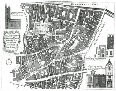 ANTIQUE MAP: BROAD STREET & CORNHILL WARDS, DIVIDED INTO PARISHES, ACCORDING TO A NEW SURVEY.