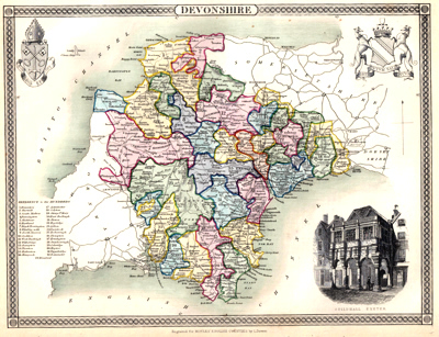 Antiques COUNTY MAP OF LANCASHIRE 1836 BY THOMAS MOULE