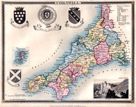 ANTIQUE MAP: CORNWALL.