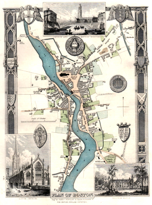ANTIQUE MAP: PLAN OF BOSTON.