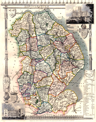 Antique map of Lincolnshireshire