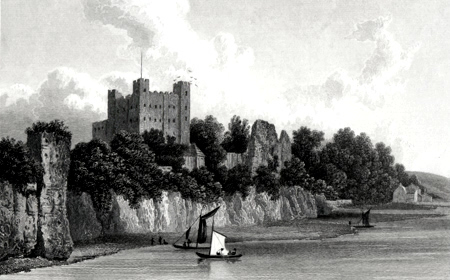 ANTIQUE PRINT: ROCHESTER CASTLE FROM THE BRIDGE.