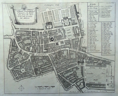 [BLOME, Richard, 1635-1705] : A MAPP OF THE PARISH OF ST GILES'S IN THE FIELDS TAKEN FROM THE LAST SERVEY, WITH CORRECTIONS AND ADDITIONS.